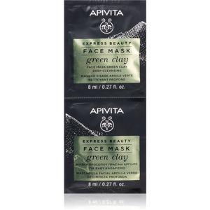 Apivita Express Beauty Green Clay čisticí a vyhlazující pleťová maska se zeleným jílem 2 x 8 ml