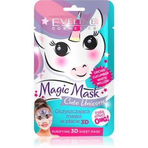 Eveline Cosmetics Magic Mask Cute Unicorn textilní 3D hloubkově čisticí maska